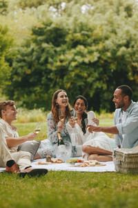 Friends enjoying a picnic together