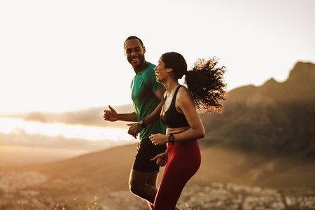 Couple enjoying running together
