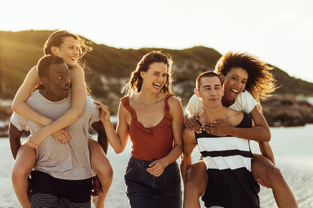 Multiethnic group of friends having fun together