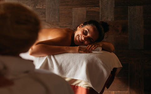 Woman having a great experience at a spa
