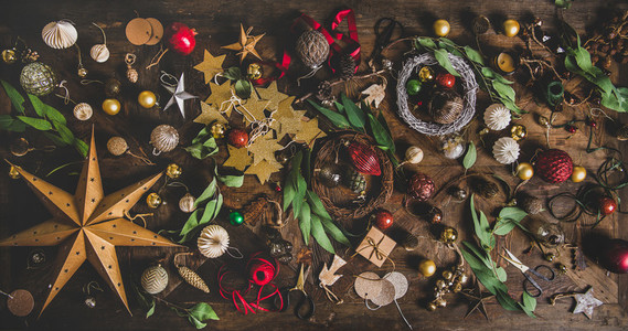 Christmas New Year holiday decoration layout background over wooden table