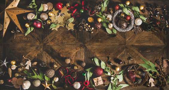 Flat lay of Christmas New Year holiday layout background copy space