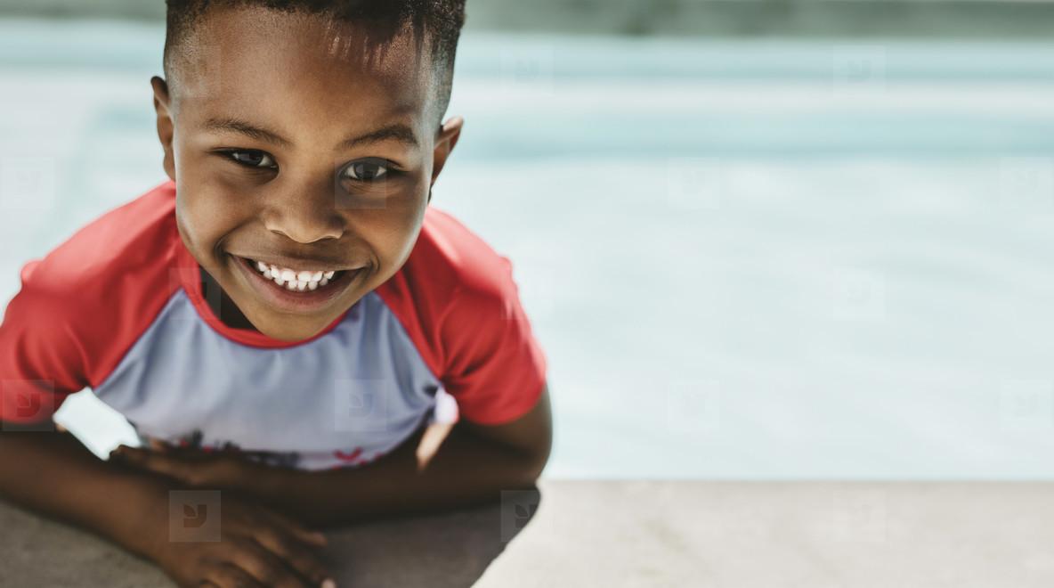 Cute boy in a swimming pool