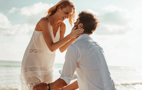 Couple in love on a beach holiday