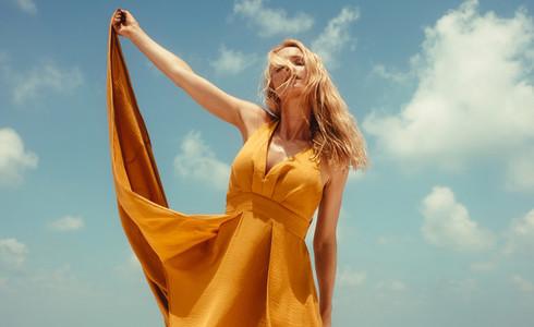 Stylish woman in summer fashion wear