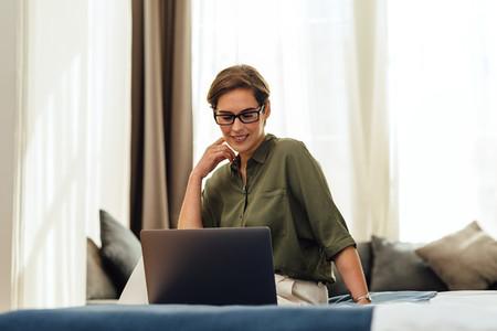 Business woman in modern hotel