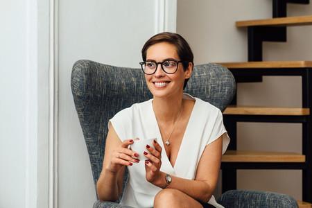 Smiling woman in eyeglasses