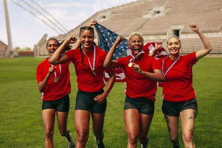 American female soccer team winning the championship