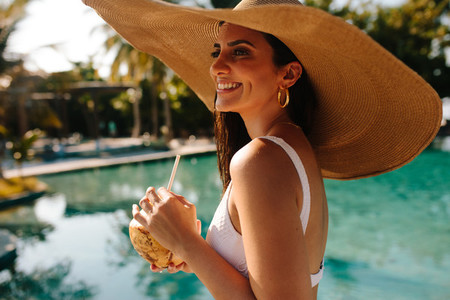 Woman on holiday at a tropical resort