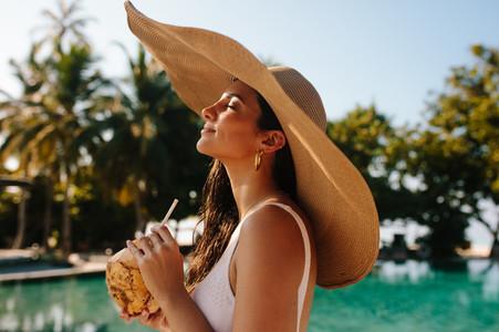 Woman enjoying holiday at a resort