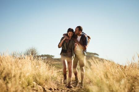 Couple enjoying a hiking trip