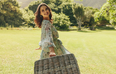 Beautiful woman going on a weekend picnic