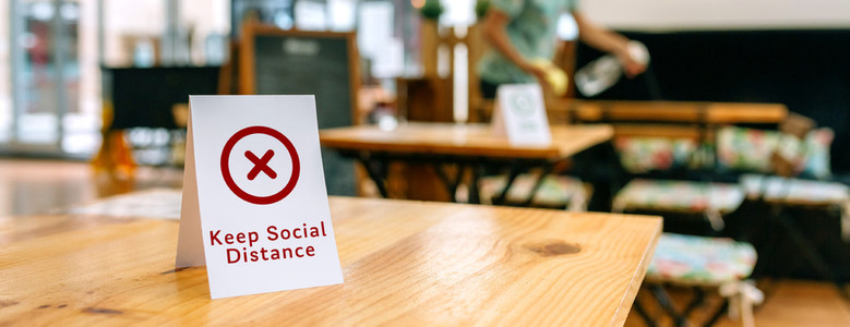 Coffee shop table with do not use sign