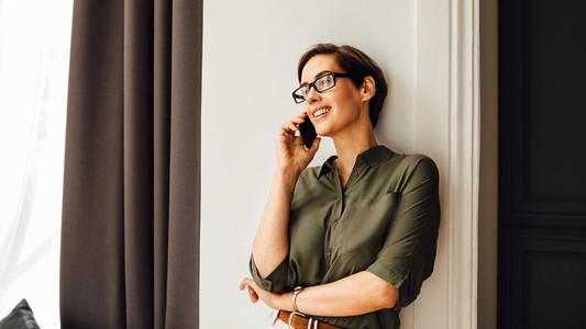 Beautiful businesswoman talking