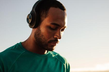Afro american man wearing headphones