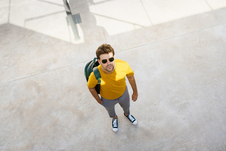 Top view of a male student on the university campus