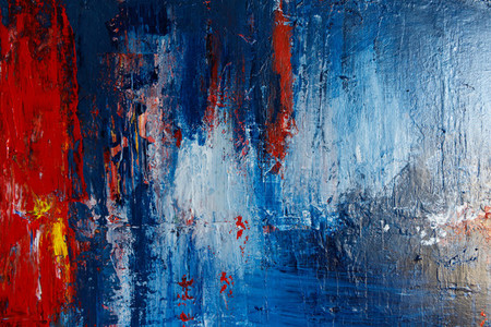 Abstract acrylic background with blue  red and white palette