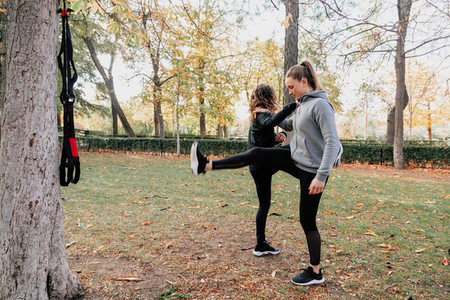 A couple of women training toget