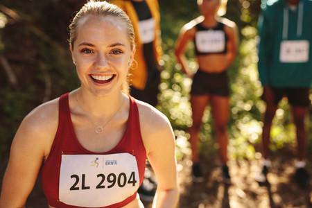 Smiling woman marathon runner