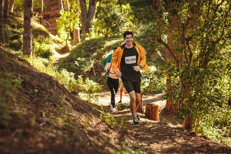 Marathoners running a mountain race