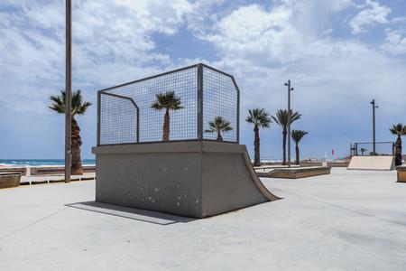 Empty skate park ramp outdoor in seaside beach