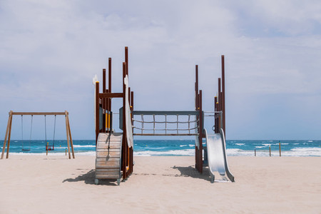 Playground for children empty in a beach at Alicante  Spain