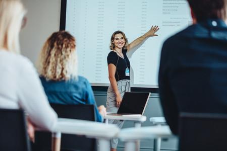 Businesswoman delivering an informative presentation