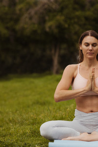 Portrait of a woman in a yoga pose