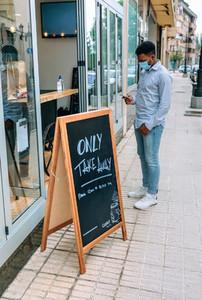 Man waiting to buy take away food