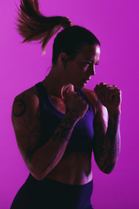 Woman practising boxing punches