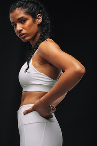 Monochrome fitness portrait of female athlete