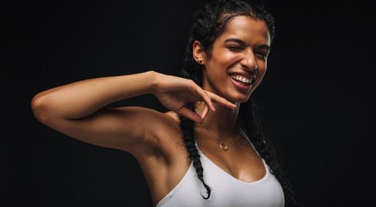 Monochrome portrait of a fit woman