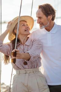 Romantic mature couple looking