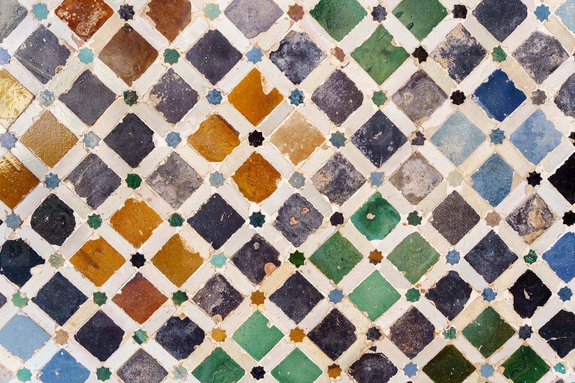Ceramic walls in the Alhambra of Granada