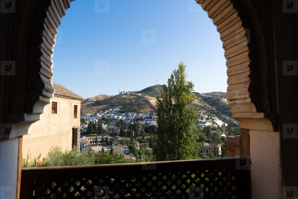 Albayzin district of Granada  Spain  from a window in the Alhambra palace