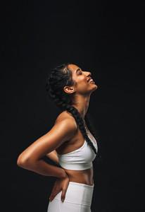 Side view portrait of fit woman