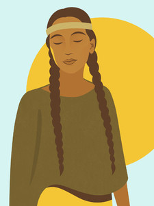 Native American girl with braids