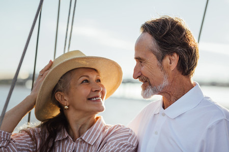 Affectionate couple on a boat