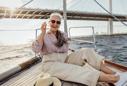 Happy mature woman resting