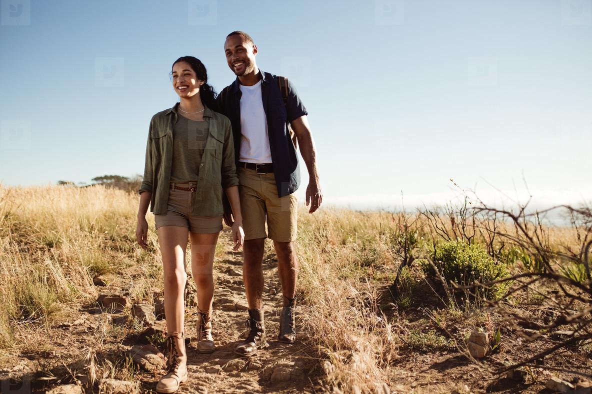 Couple on a wonderful hiking trip
