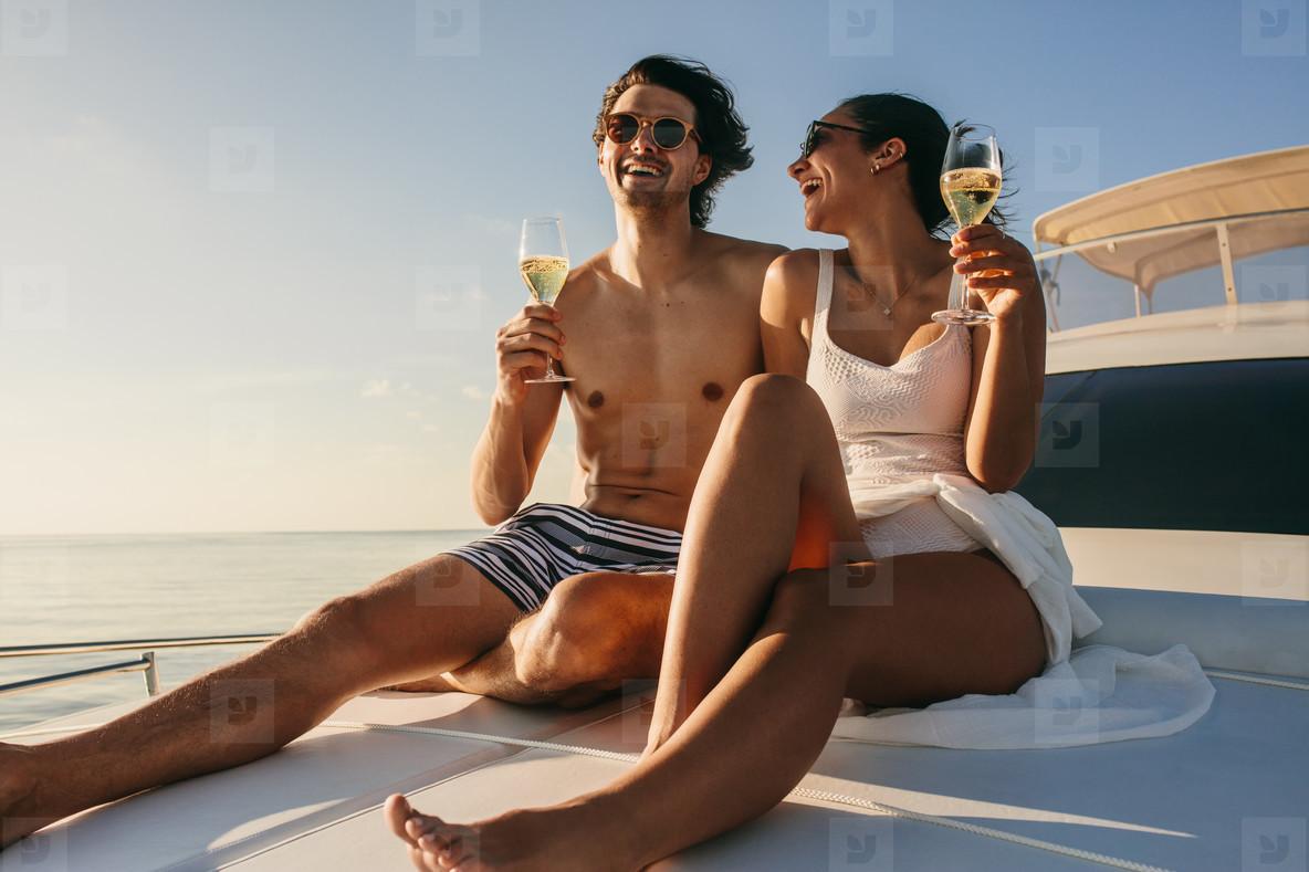 Romantic honeymoon vacation on a luxury yacht