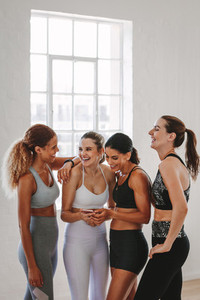 Women having fun after workout