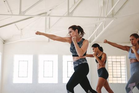 Women doing boxing workout