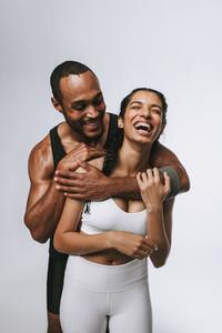 Portrait of happy fitness couple