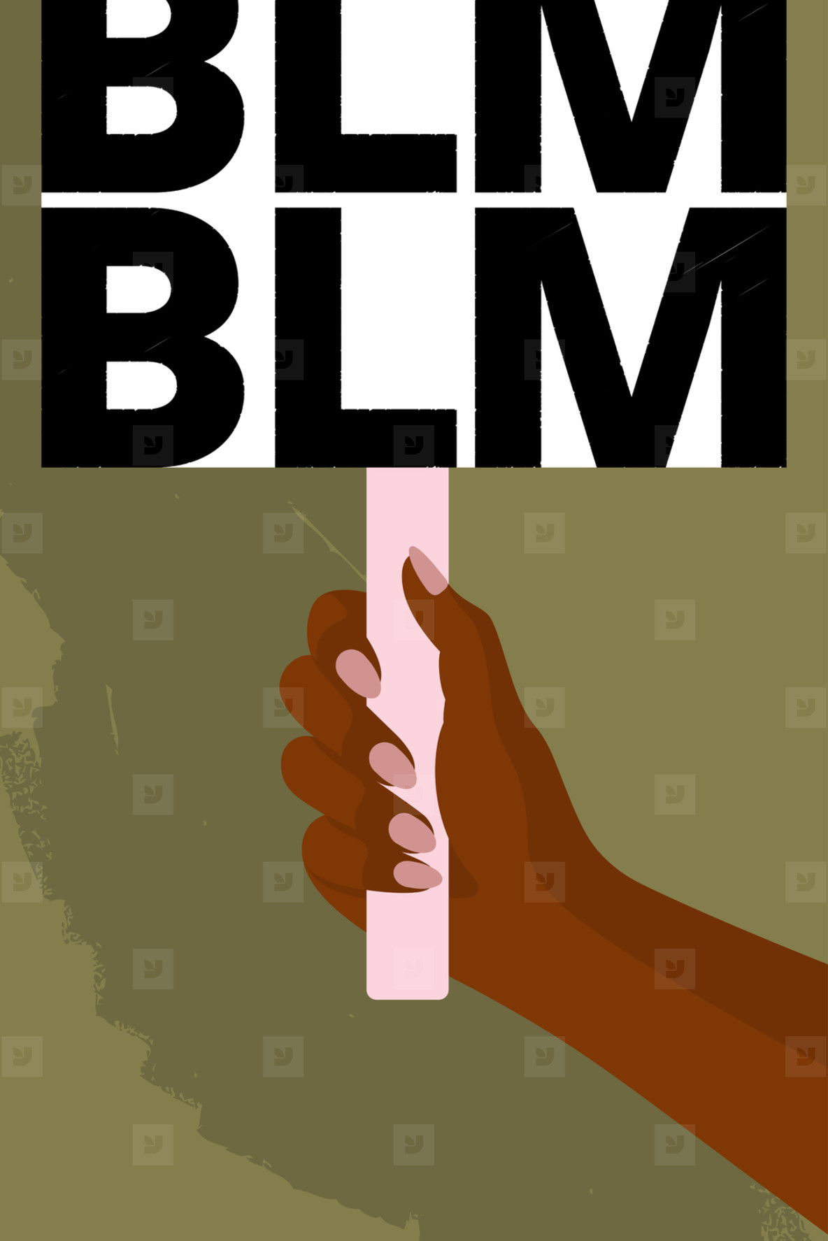Protester holding BLM sign