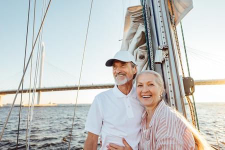 Happy senior couple standing