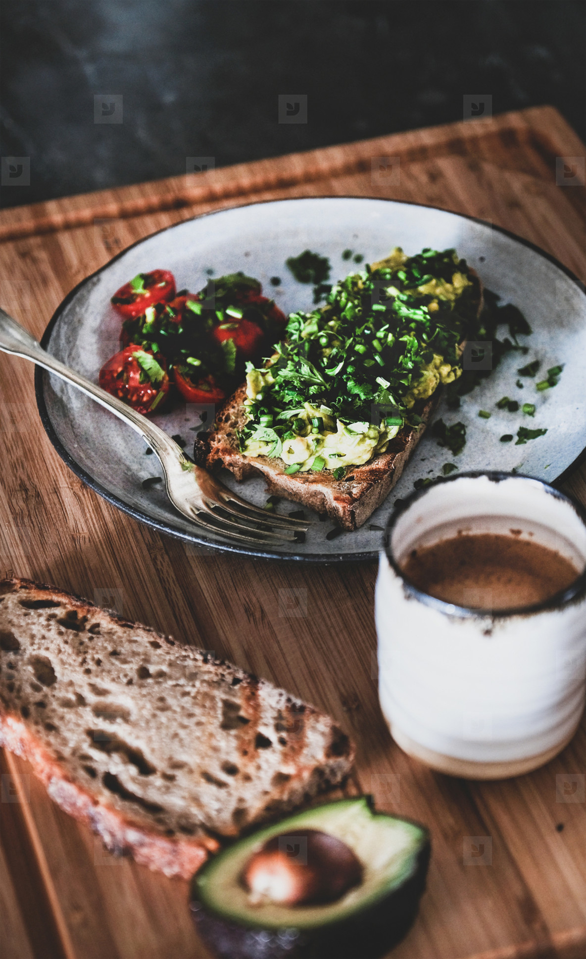Healthy breakfast with avocado toast and espresso coffee