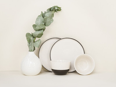 Minimalist white and black set of modern ceramic