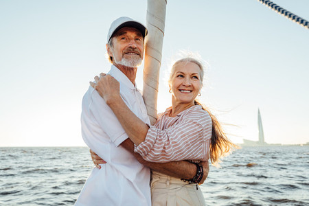 Two mature people standing