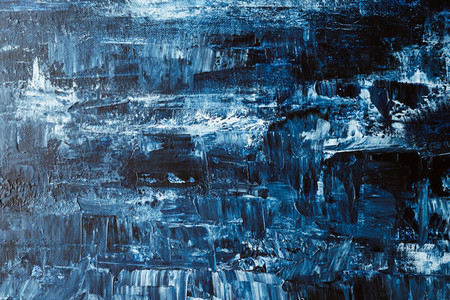 Abstract blue and white acrylic painting made with a palette knife  Modern art concept